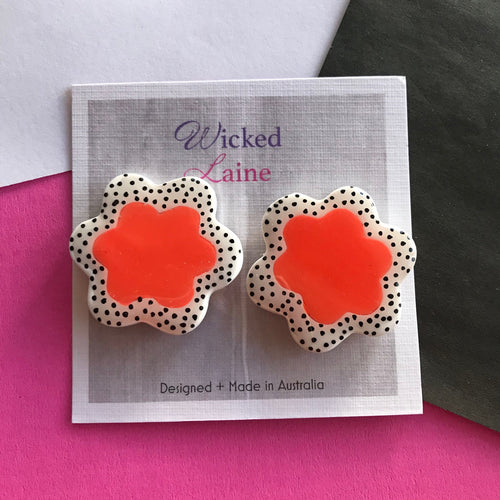 Orange Bloom Studs