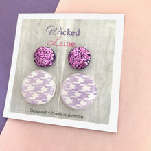 Load image into Gallery viewer, Houndstooth & Glitter Purple Studs / Stud Pack