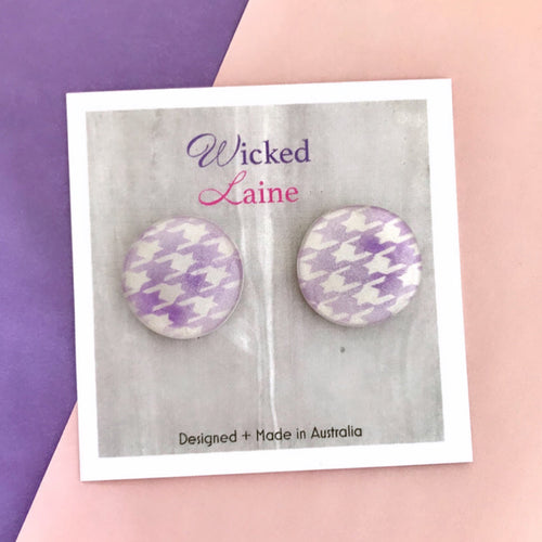 Houndstooth Studs Purple
