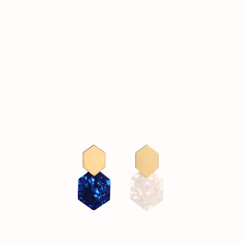 AURORA POLYGON DROP EARRINGS WITH RESIN AND GOLD HARDWARE - OCEAN BLUE & PEARL WHITE