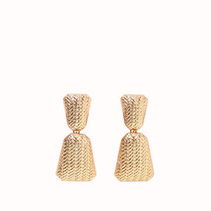 GEORGIA CHEVRON EMBOSSED DROP GOLD EARRINGS