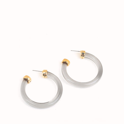 KINSLEY GREY ACRYLIC HOOP EARRINGS