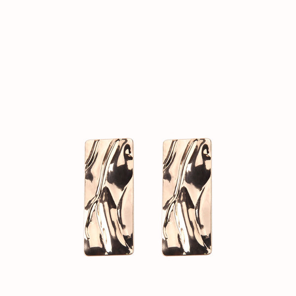 OLIVIA HAMMERED GOLD RECTANGLE EARRINGS