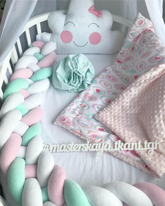Baby Crib Bumper Knotted Braided Bumper Handmade Soft Newborn Gift Crib Protector