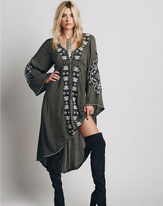 Embroidered Flare Sleeves Tunic Dress - MyBoholy