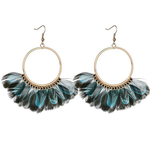 Feather Round Hoop Earrings - MyBoholy