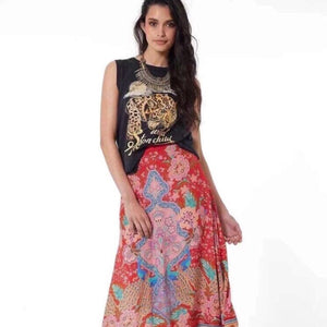 Red Gipsy Peacock Split Maxi Skirt - MyBoholy