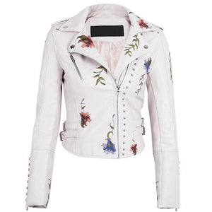 White Floral Embroidered Leather Jacket - MyBoholy