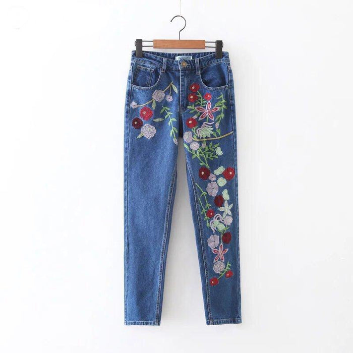 Front Floral Embroidery Straight Leg Crop Jeans - MyBoholy