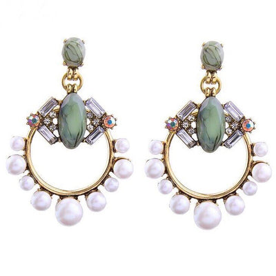 Pearl & Natural Stone Chandelier Earrings - MyBoholy