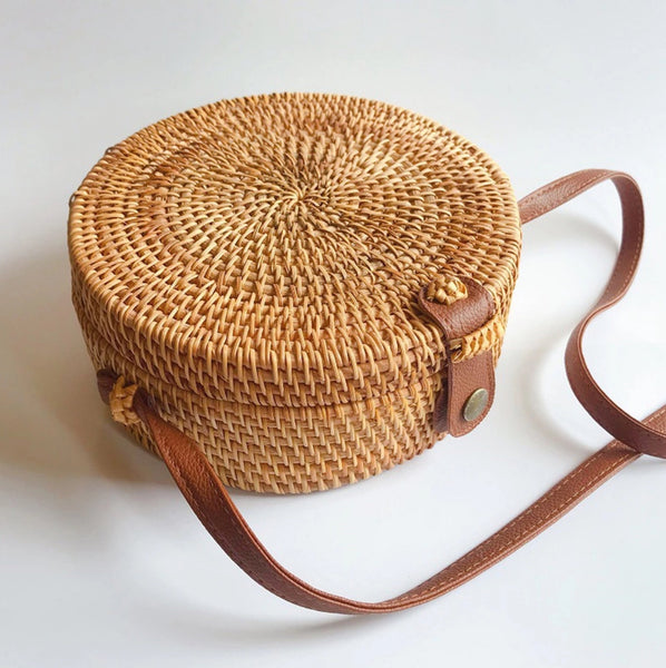 Leather Strap Rattan Crossbody Bag - MyBoholy