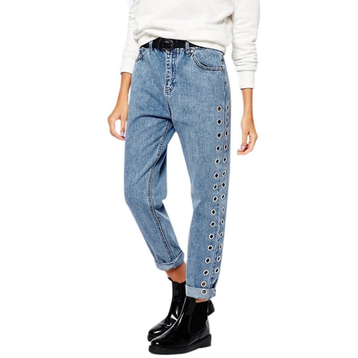 Eyelet High Waist Straight Leg Crop Jeans - MyBoholy