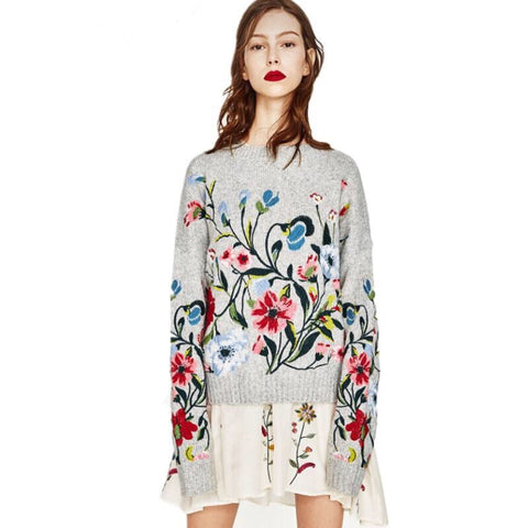 Flower Wool Knitted Sweater - MyBoholy