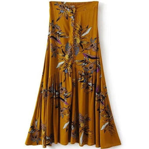 Asymmetrical Flounce Button Maxi Skirt - MyBoholy
