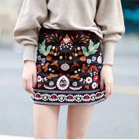 Botanical Embroidery Floral Mini Skirt - MyBoholy