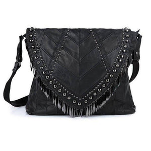 Patchwork Leather Rivet Shoulder Bag - MyBoholy