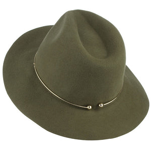Wool Wide Brim & Metal Ring Fedora Hat - MyBoholy