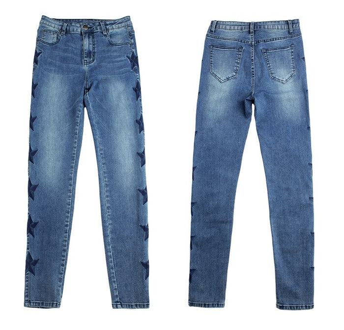 Blue Star Embroidery Skinny Jeans - MyBoholy