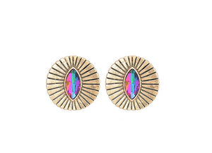Round Concave Stud Earrings With Cristal - MyBoholy
