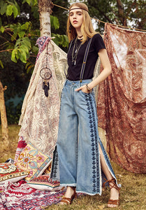 Side By Side Embroidery Super Wide Split Jeans - MyBoholy