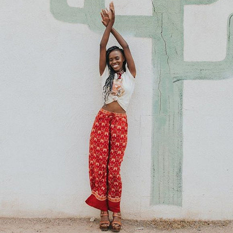 Red Floral Print Flare Pants - MyBoholy