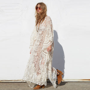 Bohemian Semi Sheer Batwing Sleeve Dress - MyBoholy