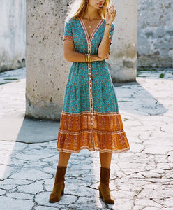 Boho Button Down Flower Dress - MyBoholy