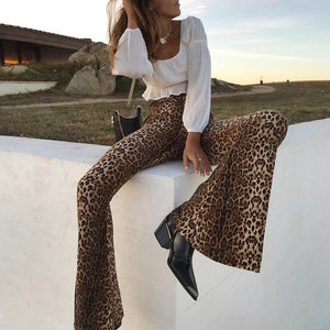 High Waist Stretchy Leopard Print Flare Tights - MyBoholy