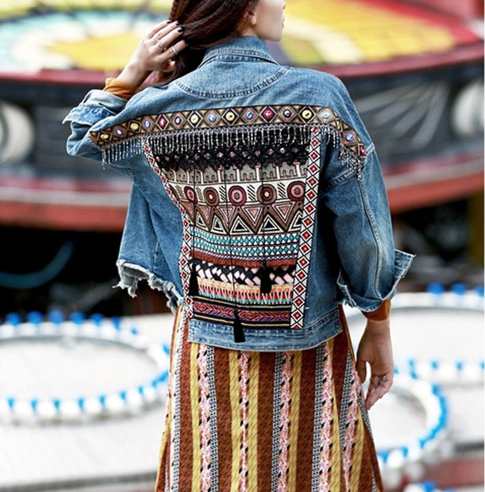 Ethnic Vintage Embroidery Oversized Denim Jacket - MyBoholy