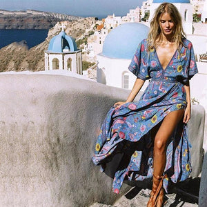Bohemian Deep V-Neck Maxi Dress - MyBoholy