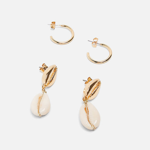 Golden Shell Drop Earrings - MyBoholy