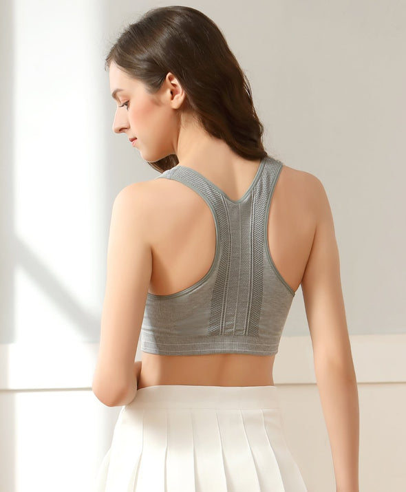 Seamless Contrast Jacquard Racerback Vest - Young Hearts Lingerie Malaysia