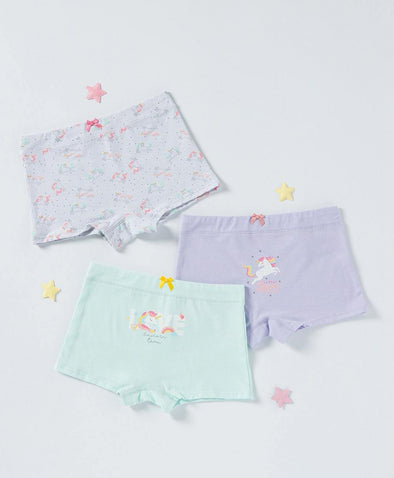 Unicorn Team Boxshort 3-pack Panties - Young Hearts Lingerie Malaysia