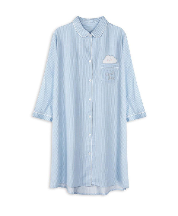 Quiet Sky Woven Shirtdress - Young Hearts Lingerie Malaysia
