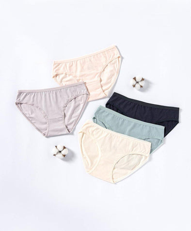 Soft Neutrals Cotton 5-pack Mini Panties - Young Hearts Lingerie Malaysia