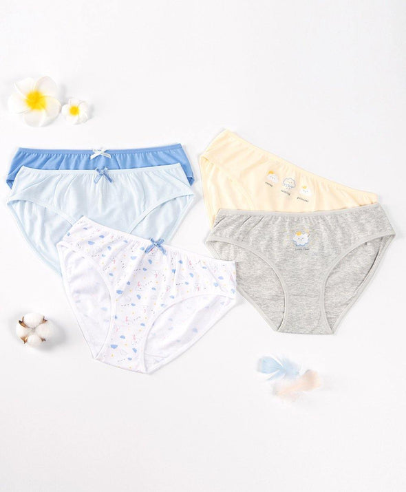 Lovely Cloud Graphic 5-pack Midi Panties