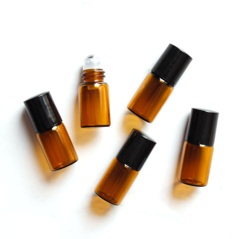 2ml Amber Glass Roller Bottles with Black Lids (5 pack)