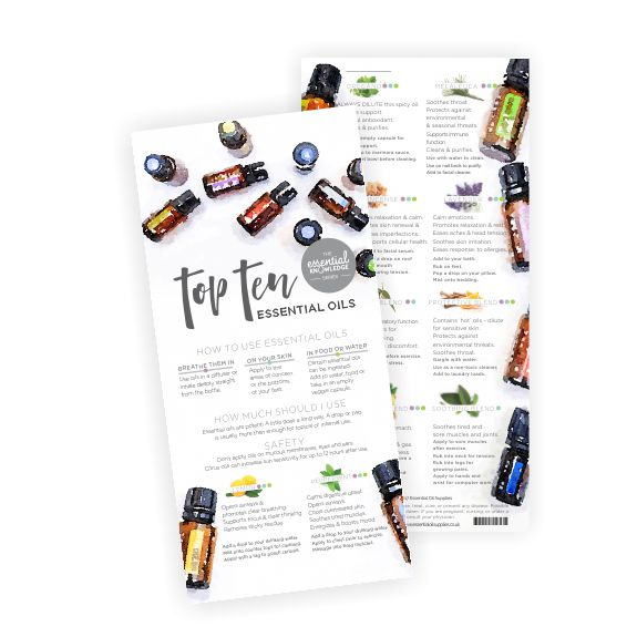 Top Ten Essential Oils Rack Card Essential Oil Guide Best NZ