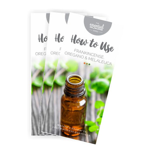 How to Use Frankincense, Oregano & Melaleuca Brochure rack card