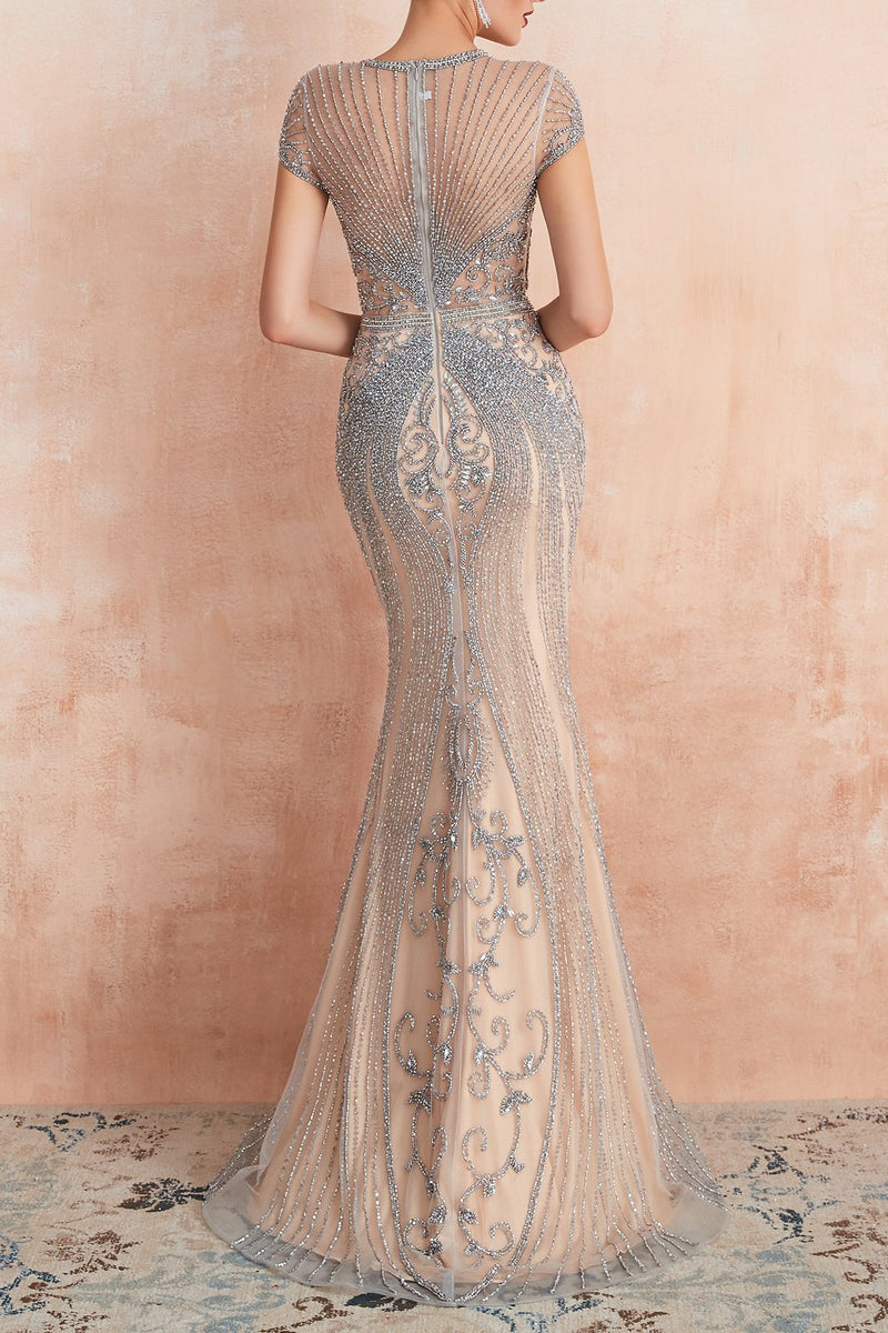 Load image into Gallery viewer, Mermaid Beaded Silver Prom Dress