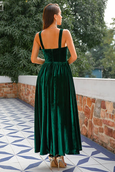 Dark Green Velvet Formal Dress