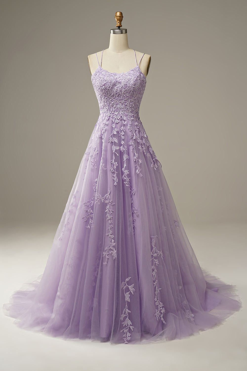 Appliques Purple Tulle Formal Dress