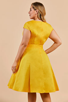 Plus Size Yellow Vintage 1950s Dress