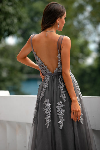 Grey Tulle Prom Dress with Appliques