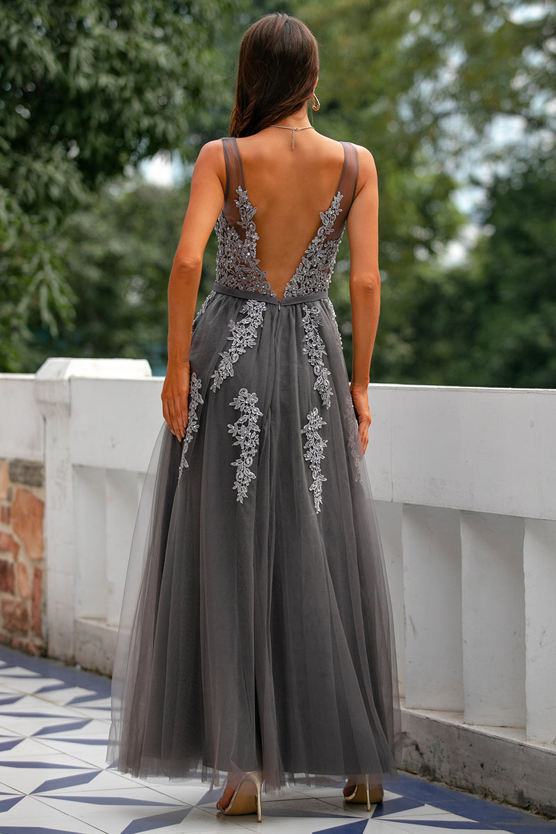 Load image into Gallery viewer, Grey Tulle Prom Dress with Appliques
