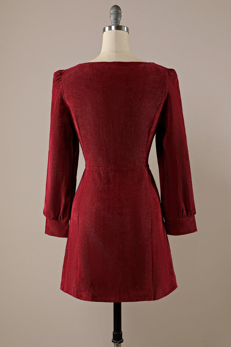Load image into Gallery viewer, Burgundy Retro Square Neck Corduroy A-Line Dress