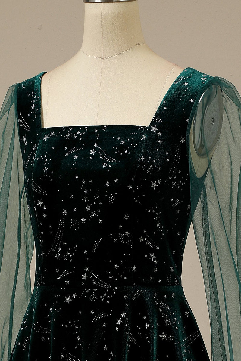 Load image into Gallery viewer, Dark Green Velvet Party Dress