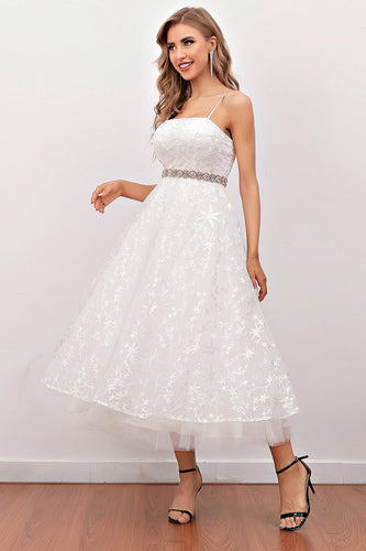 White Lace Midi Formal Dress