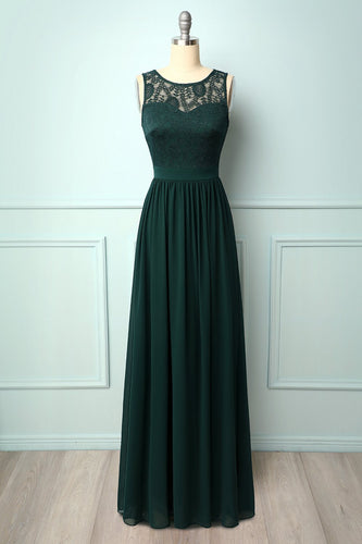 Dark Green Lace Long Dress