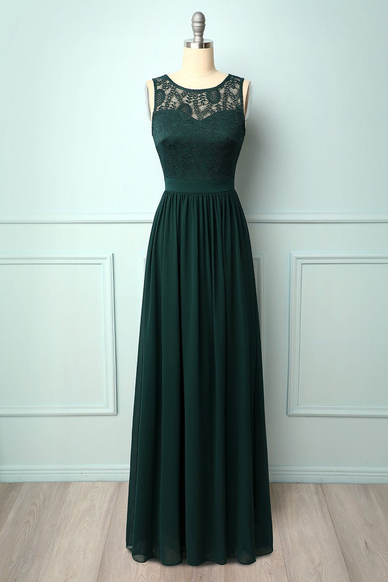 Load image into Gallery viewer, Dark Green Lace Long Dress